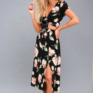 Aliso Black Floral Print Cutout Midi Dress